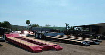 Picture of New Lowboy Trailers.